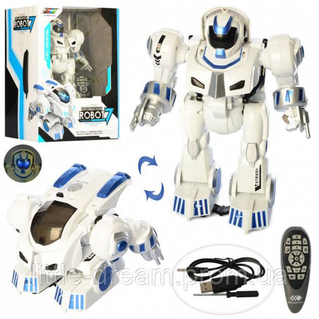 Робот K4 на радиоуправлении, 28 см, муз, звук и свет, ездит, поворот 360, стреляет пулями, USB заряд