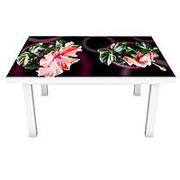 Наклейка на стол Гибискус (ПВХ интерьерная пленка для мебели) розовые цветы в горшочках Коричневый 600*1200 мм