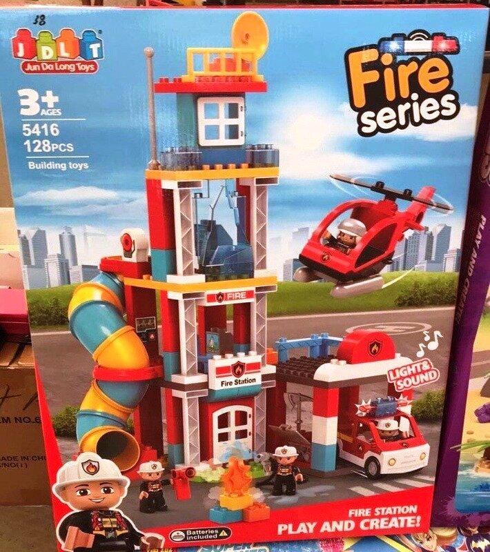 Конструктор для малышей JDLT 5416 Пожарная станция 128 деталей