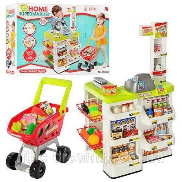 """Детский игровой набор """"Супермаркет"""" (668-03) с кассой, тележкой и сканером, световые и звуковые эффекты"""