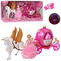 Карета 2202D с лошадью 41 см, кукла 14,5 см, аксессуары