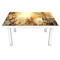 Наклейка на стол Древняя Европа (ПВХ интерьерная пленка для мебели) замки Архитектура Коричневый 600*1200 мм