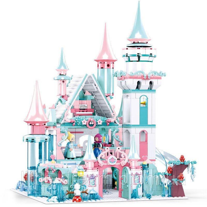 """Детский большой конструктор """"Зимний замок принцессы"""" Sluban M38-B0789 с фигурками и мебелью (1314 дет)"""