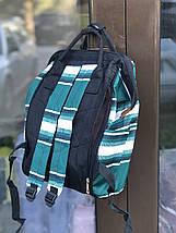 Сумка - рюкзак  mom bag из непромокаемого нейлона  черно бело зеленый, фото 3
