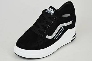 Замшеві кросівки з напиленням Prima d'arte 80182 Чорні на платформі, фото 2