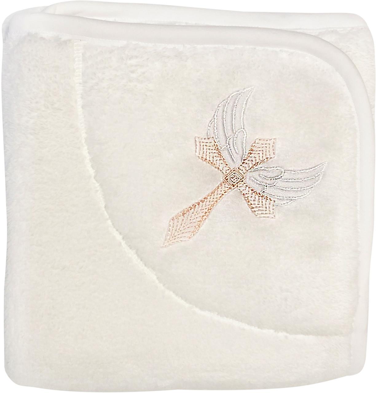 Тёплая махровая крыжма для крещения мальчика девочки на крестины с вышивкой большая 90х100 белая