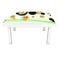 Наклейка на стол Жидкое золото (ПВХ интерьерная пленка для мебели) сферы шары Зеленый 600*1200 мм