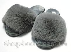 Женские тапочки с  мехом и открытым носком. Модель тапочки ЖТ1 серый