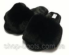 Женские тапочки с  мехом и открытым носком. Модель тапочки ЖТ1 черный
