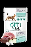 Optimeal консерва для дорослих кішок З еф. вывед. вовни з качкою і печінкою в ябл желе 85 г/12 шт