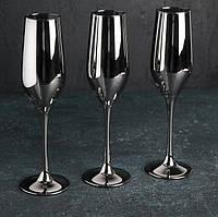 """Набор бокалов 160 мл для шампанского Celeste """"Сияющ графит"""" Люминарк 6 шт."""