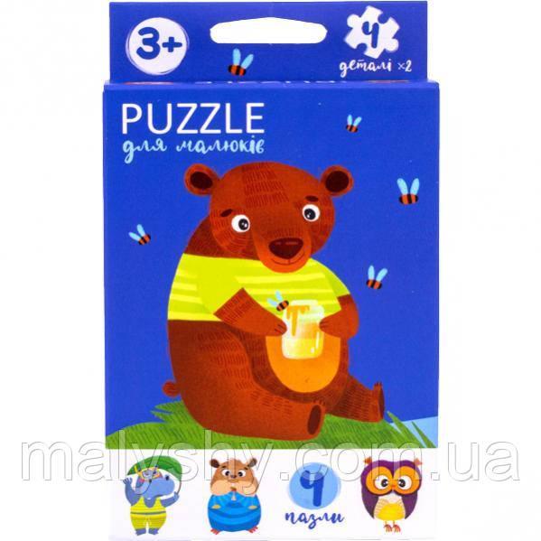 Развивающие фигурные пазлы «Puzzle для малышей» МИШКА / Розвиваючі фігурні пазли для малюків
