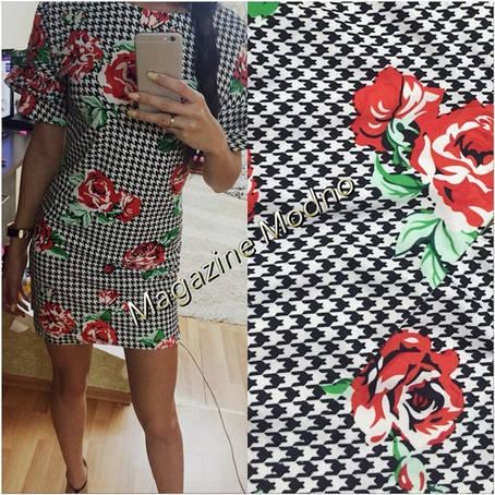 Платье гусиная лапка с розой , фото 2