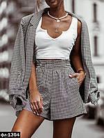 Женский костюм в клетку с шортами и пиджаком, фото 1
