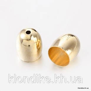 Конус Шапочки, Латунь, 9×8 мм, отв. 1 мм, Цвет: Светлое Золото (6 шт.)