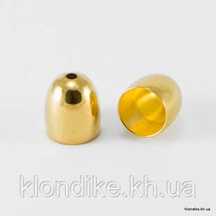 Конус Шапочки, Латунь, 9×8 мм, отв. 1 мм, Цвет: Золото (6 шт.)