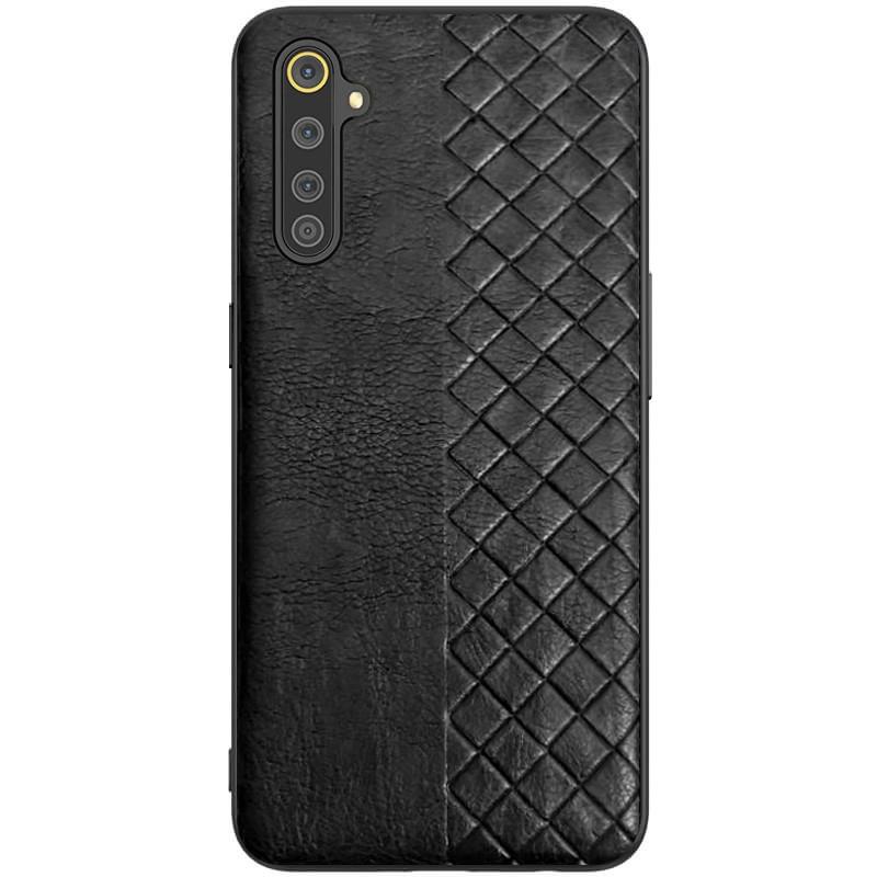 Realme 6 Pro (37589) Черный кожанный чехол на реалми 6 про