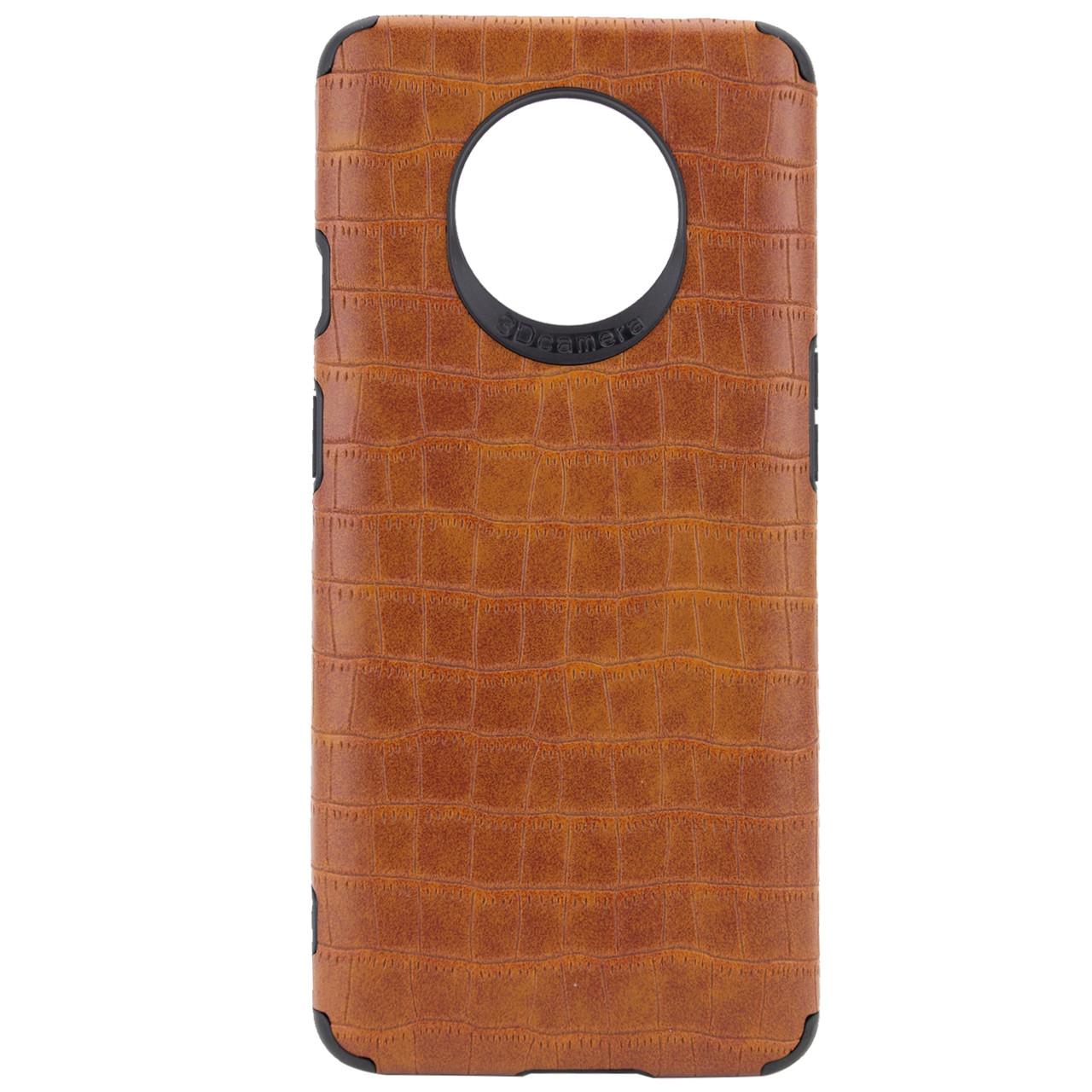 """OnePlus 7T (34649) Светло-коричневый кожаный чехол на """"оне плюс"""" """"ван плюс"""" 7т"""