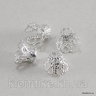 """Конус Шапочки для Бусин """"Цветок"""", Железные, 9×8 мм, отв. 1.2 мм, Цвет: Серебро (50 шт.)"""