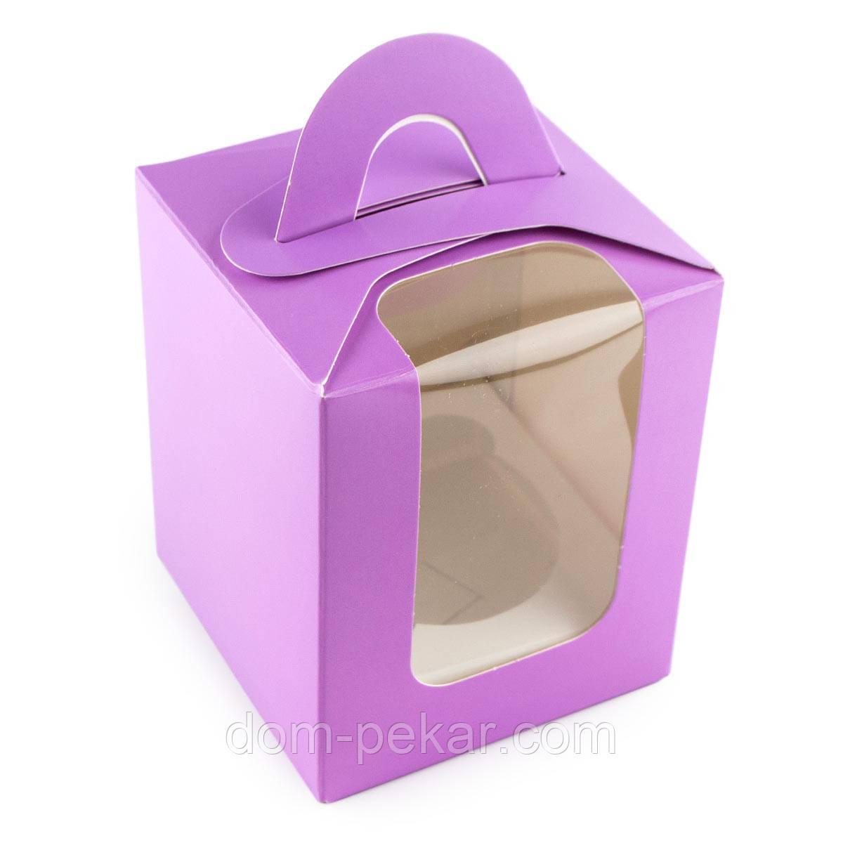 Упаковка для кексов с окошком (на 1шт) с ручкой Сиреневая