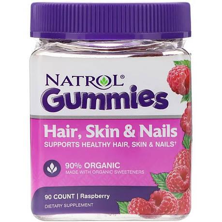 Комплекс для волос, кожи и ногтей, Вкус малины, Natrol, Hair, Skin & Nails, 90 жевательных таблеток, фото 2