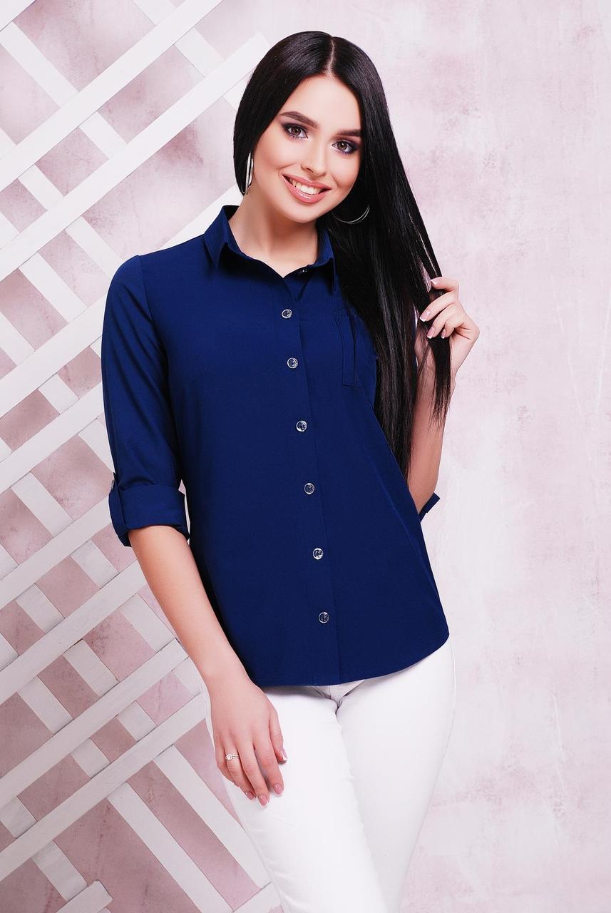 Блузка женская темно-синяя летняя с длинным рукавом. Ткань - супер софт. Повседневная, офисная легкая блуза