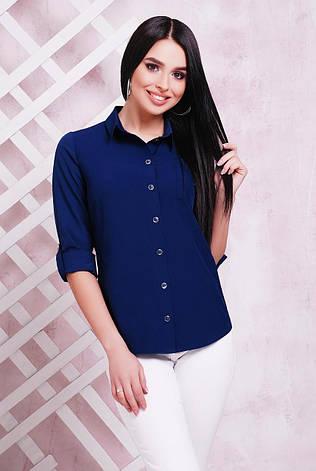 Блузка женская темно-синяя летняя с длинным рукавом. Ткань - супер софт. Повседневная, офисная легкая блуза, фото 2