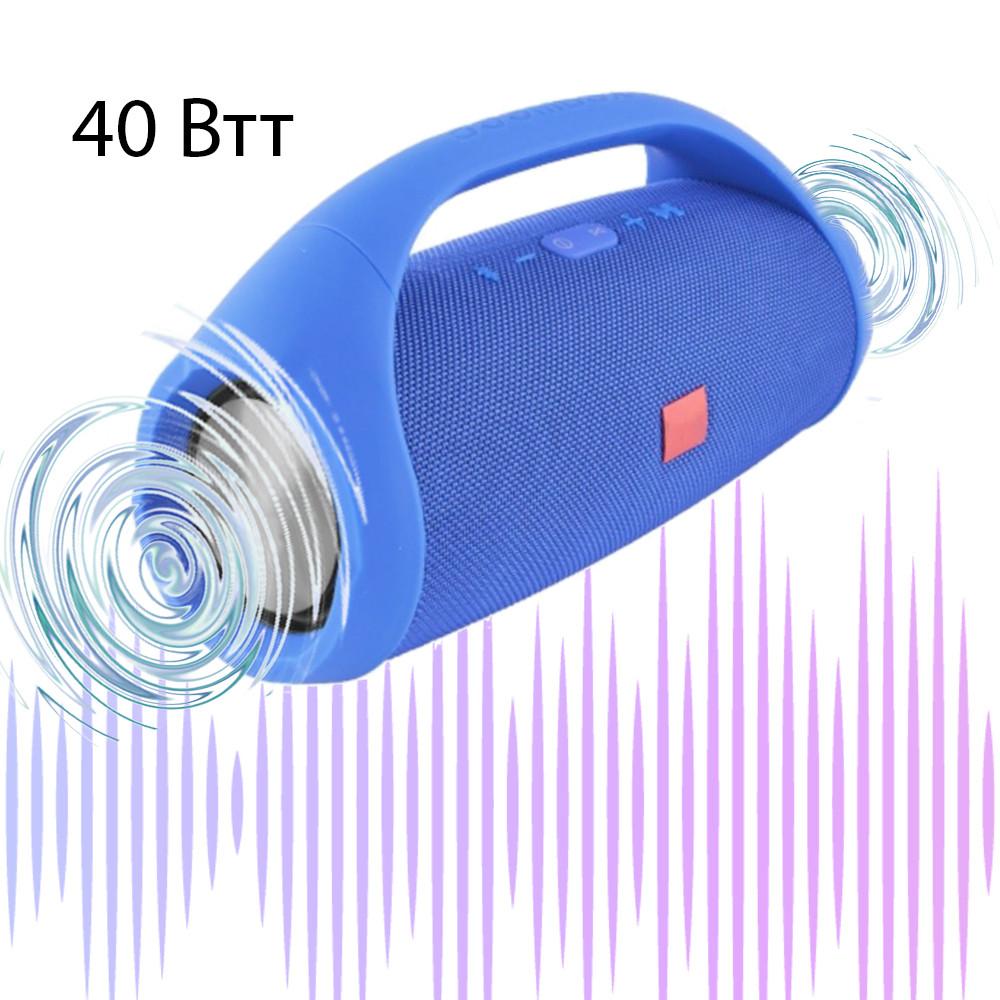 Большая Колонка Bluetooth с ручкой Boombox 40Вт Синяя беспроводная блютуз акустическая колонка
