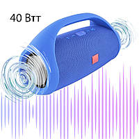 Большая Колонка Bluetooth с ручкой Boombox 40Вт Синяя беспроводная блютуз акустическая колонка, фото 1