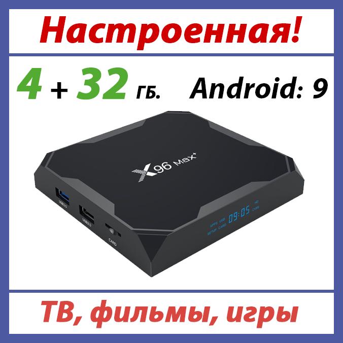 Андроїд приставка X96 MAX PLUS 4/32 ГБ (ТВ приставки на андроїд H96 mini)