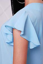 Блузка женская голубая летняя с коротким рукавом. Ткань креп-шифон . Повседневная, офисная легкая блуза, фото 3