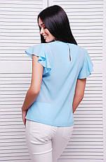 Блузка женская голубая летняя с коротким рукавом. Ткань креп-шифон . Повседневная, офисная легкая блуза, фото 2