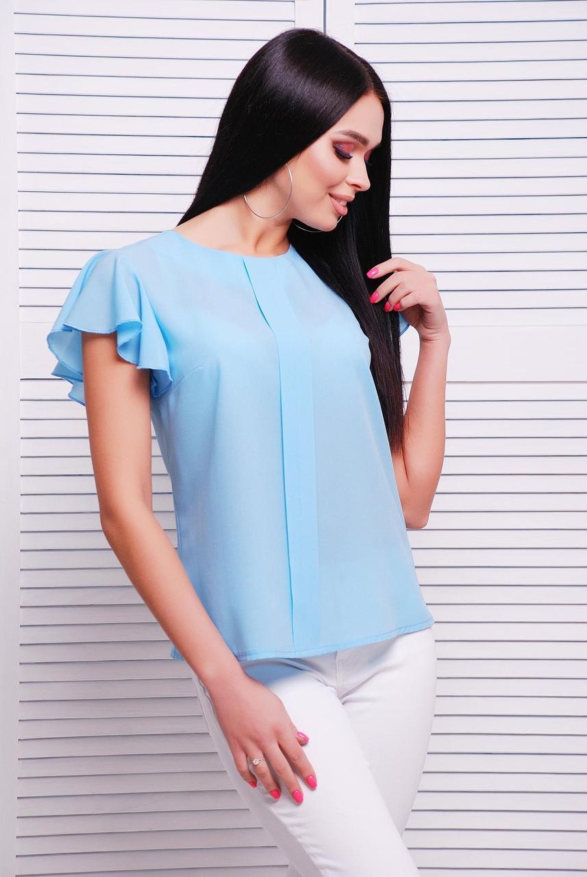 Блузка женская голубая летняя с коротким рукавом. Ткань креп-шифон . Повседневная, офисная легкая блуза