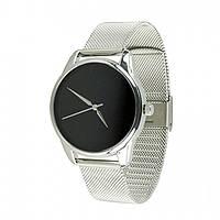 Часы Ziz Минимализм черный, ремешок из нержавеющей стали серебро и дополнительный ремешок SKL22-142921