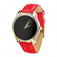 Часы Ziz Минимализм черный, ремешок маково-красный, золото и дополнительный ремешок SKL22-142886
