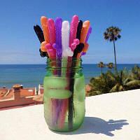 Набор 5шт Разноцветные соломинки пенисы Вилли, Трубочка д/коктейля Писюн микс, трубочки приколы для девичника