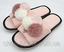 Женские тапочки мороженко с открытым носком. Модель тапочки ЖТ4 розовый