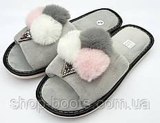 Женские тапочки мороженко с открытым носком. Модель тапочки ЖТ4 серый