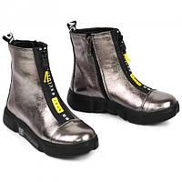 Ботинки для девочек кожаные серебристые Осень- флис Зима- набивная шерсть размер 32-39