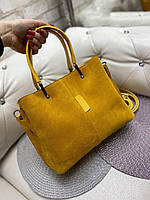 Женская замшевая сумка классическая вместительная сумочка яркая желтая замша+экокожа, фото 1