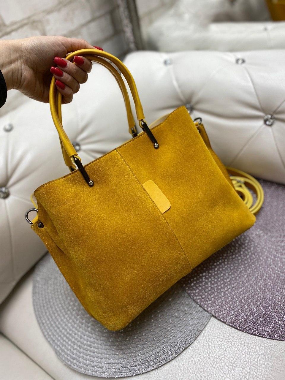Женская замшевая сумка классическая вместительная сумочка яркая желтая замша+экокожа