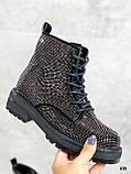 Женские ботинки ДЕМИ черные со стразами эко-замш, фото 2
