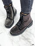 Женские ботинки ДЕМИ черные со стразами эко-замш, фото 3