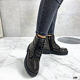 Женские ботинки ДЕМИ черные со стразами эко-замш, фото 4