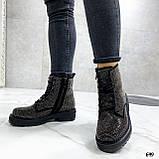 Женские ботинки ДЕМИ черные со стразами эко-замш, фото 6
