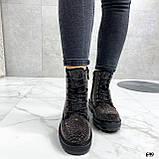 Женские ботинки ДЕМИ черные со стразами эко-замш, фото 5