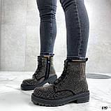 Женские ботинки ДЕМИ черные со стразами эко-замш, фото 7