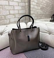 Женская сумка городская вместительная модная шоппер графит экокожа, фото 1