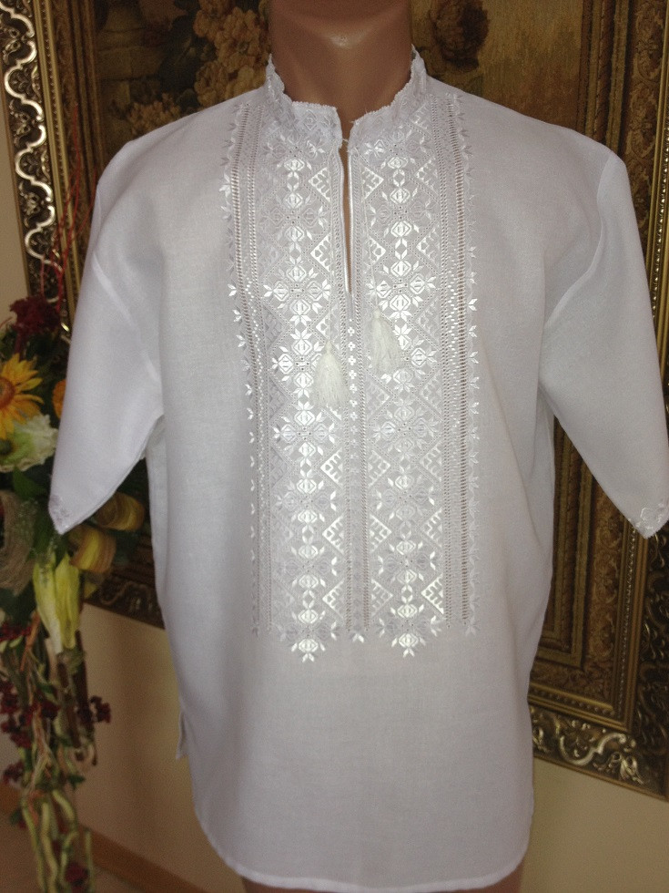 Вишита сорочка чоловіча гладдю білим по білому 78a61d1909e09