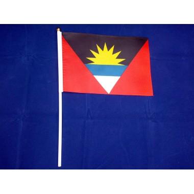 Флажок Антигуа и Барбуды 14х21см на пластиковом флагштоке